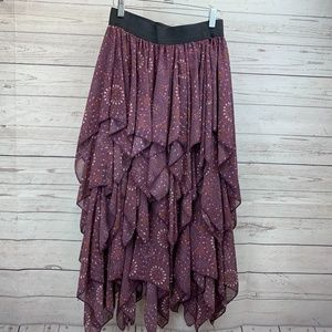 Free People Plum Berry Tiered Handkerchief Skirt